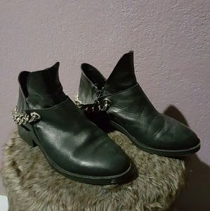 Zara Trafaluc leather ankle booties with chain